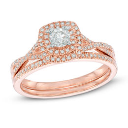 1/2 CT. T.W. Diamond Double Frame Bridal Set in 14K Rose Gold