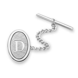 Men's Oval Florentine Tie Tac in Sterling Silver (1 Initial)