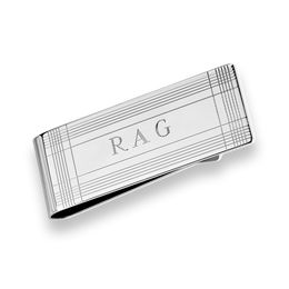 Men's Engraved Money Clip in Sterling Silver (3 Initials)