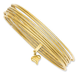 Stacked Slip-On Bangle with Heart Charm in 14K Gold - 8.0""