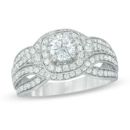 1-1/2 CT. T.W. Diamond Square Frame Engagement Ring in 14K White Gold