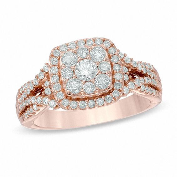 Rose Gold Enement Rings Zales   1 Ct T W Composite Diamond Frame Engagement Ring In 14k Rose Gold