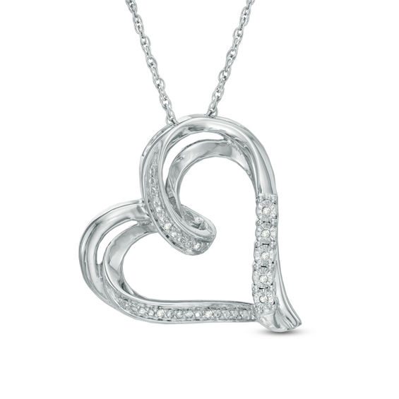 Zales Diamond Accent Tilted Heart Pendant in Sterling Silver 87M1fO