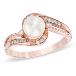 6.0mm Cultured Freshwater Pearl and 1/10 CT. T.W. Diamond Ring in 10K Rose Gold