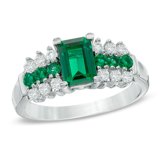 Emerald Cut Lab Created Emerald And White Sapphire Ring In