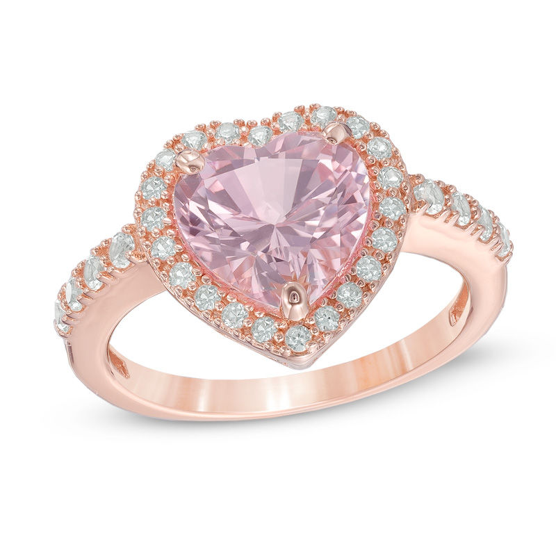 pink rings for white diamonds gold mainwh designer ring heart women unique