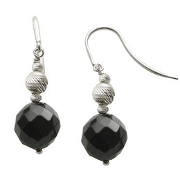 10.0mm Faceted Onyx and Brilliance Bead Drop Earrings in Sterling Silver