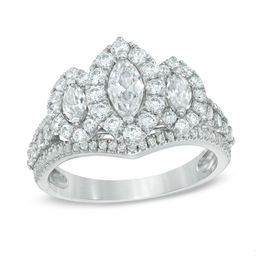 1-1/2 CT. T.W. Marquise Diamond Frame Past Present Future® Ring in 14K White Gold
