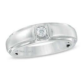 Vera Wang Love Collection Men's 1/6 CT. Diamond Solitaire Wedding Band in 14K White Gold
