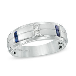 Vera Wang Love Collection Men's 1/8 CT. T.W. Diamond and Blue Sapphire Wedding Band in 14K White Gold