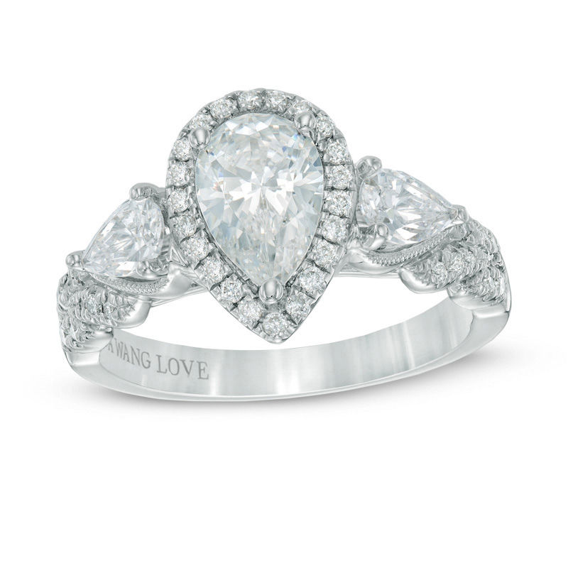 vera wang love collection 1 34 ct tw pear shaped diamond - Pear Shaped Wedding Ring