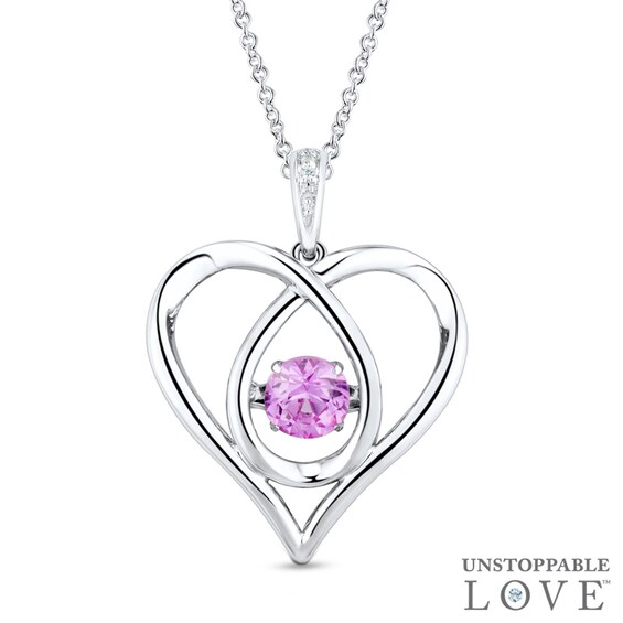 "Unstoppable Loveâ""¢ Lab-Created Pink Sapphire and Diamond Acc"