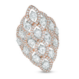 Lab-Created White Sapphire Lattice Ring in Sterling Silver and 18K Rose Gold Plate - Size 7