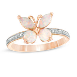 Lab-Created Pink Opal and White Sapphire Butterfly Ring in Sterling Silver with 18K Rose Gold Plate - Size 7