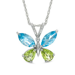 Marquise-Cut Swiss Blue Topaz and Pear-Shaped Peridot Butterfly Pendant in Sterling Silver