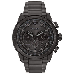 Men's Citizen Eco-Drive® Chronograph Ecosphere Watch with Black Dial (Model: CA4184-81E)