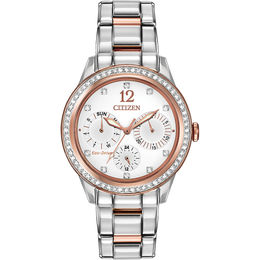 Ladies' Citizen Eco-Drive® Crystal Chronograph Watch with White Dial (Model: FD2016-51A)