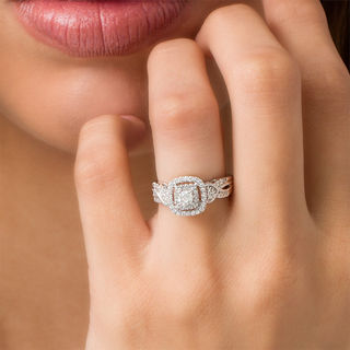 1 2 Ct T W Diamond Frame Vintage Style Engagement Ring