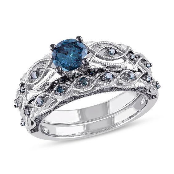 1 Ct T W Enhanced Blue Diamond Vintage Style Bridal Set