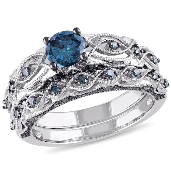 1 Ct T W Enhanced Blue Diamond Vintage Style Bridal Set