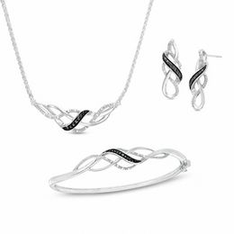 1/10 CT. T.W. Enhanced Black and White Diamond Loose Braid Three Piece Set in Sterling Silver