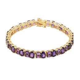 Oval Amethyst Bracelet in Sterling Silver with 18K Gold Plate - 7.5""