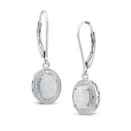 Oval Lab-Created Opal and Diamond Accent Frame Drop Earrings in Sterling Silver