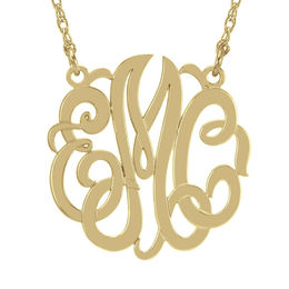 40mm Script Monogram Necklace in Sterling Silver with 14K Gold Plate (3 Initials)