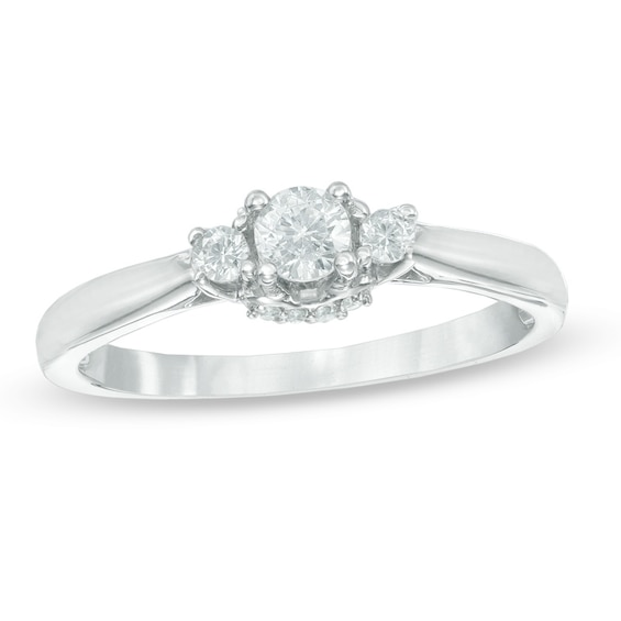 1/4 CT. T.w. Diamond Three Stone Engagement Ring in 10K White Gol