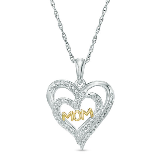 Zales Diamond Accent Heart-Shaped Mom Pendant in Two-Tone Sterling Silver kC5h8K