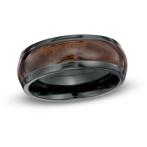 Mens 8.0mm Black Zirconium Faux Wood Inlay Ring