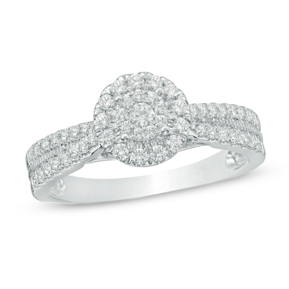 1/2 CT. T.w. Composite Diamond Frame Engagement Ring in 10K White