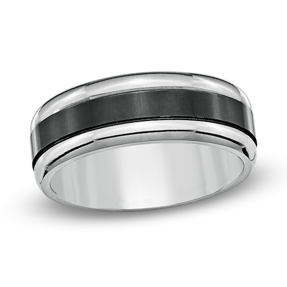 Mens 8.0mm Black Enamel Inlay Titanium Wedding Band