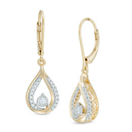 1/3 CT. T.W. Diamond Teardrop Earrings in 10K Two-Tone Gold