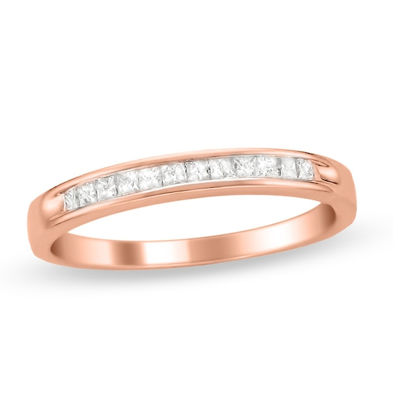 1/4 CT. T.w. Princess-Cut Diamond Wedding Band in 14K Rose Gold