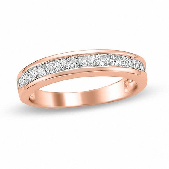1 CT T W Princess Cut Diamond Wedding Band in 14K Rose Gold