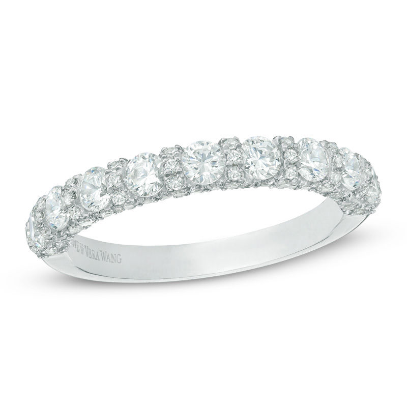 white gold vera wang love collection 1 15 ct tw diamond wedding band in - White Gold Wedding Rings