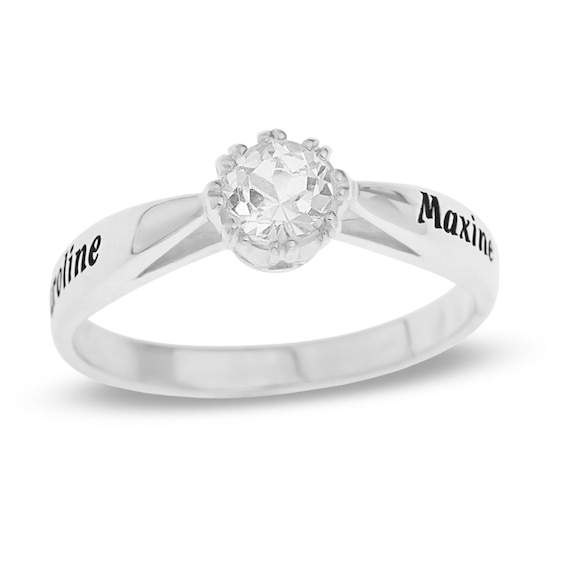 5.0mm White Topaz Promise Ring in Sterling Silver (2 Names)
