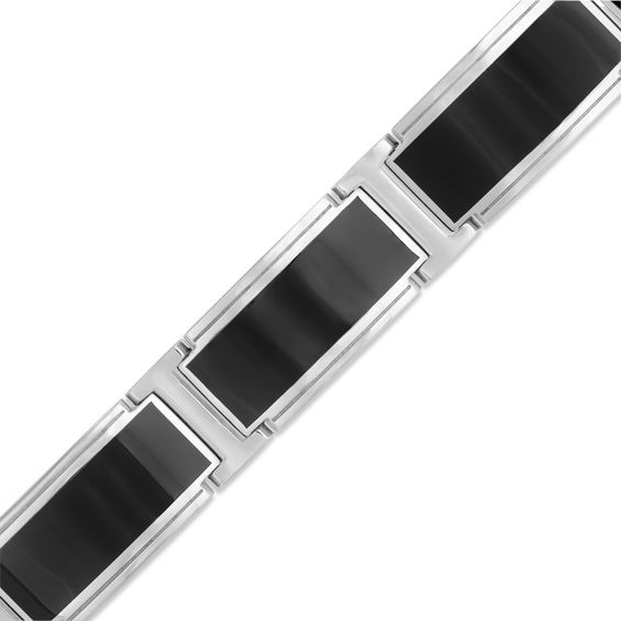 Zales Mens 12.68mm Stainless Steel and Black Enamel Bracelet - 8.5
