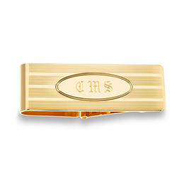Men's Oval Design Money Clip in 14K Gold (3 Initials)