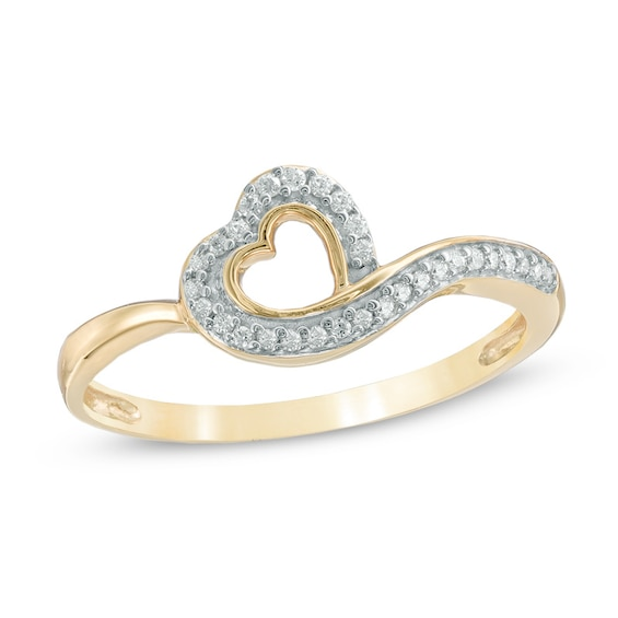1/10 CT. T.w. Diamond Tilted Heart Ring in 10K Gold