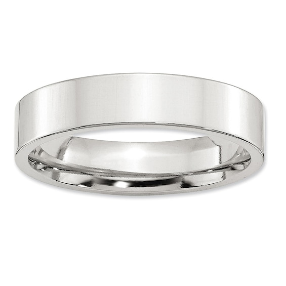 Mens 5.0mm Flat Comfort Fit Wedding Band in Sterling Silver