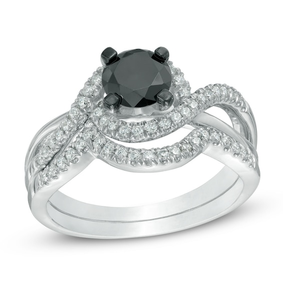 1-1/5 CT. T.w. Enhanced Black and White Diamond Swirl Bridal Set