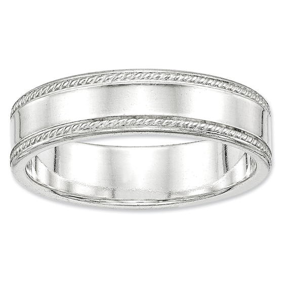 Mens 6.0mm Comfort Fit Rope Edge Wedding Band in Sterling Silver