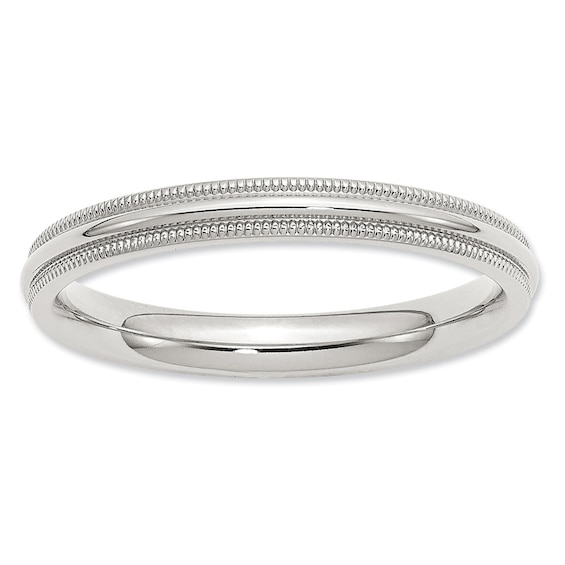 Ladies 3.0mm Comfort Fit Milgrain Wedding Band in Sterling Silver