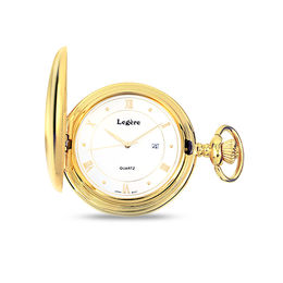 Yellow-Tone Pocket Watch with White Dial (4 Characters)