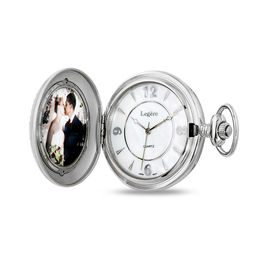 Silver-Tone Photo Pocket Watch with Mother-of-Pearl Dial (4 Characters)