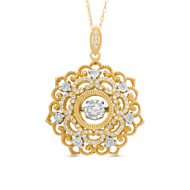 Gold necklaces necklaces zales unstoppable love 13 ct tw diamond flower with vintage style scroll aloadofball Choice Image