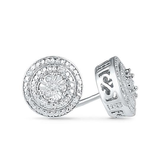 Diamond Accent Double Frame Stud Earrings in 10K White Gold | Online ...