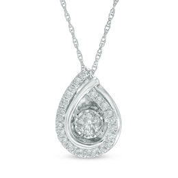 Unstoppable Love™ 3/4 CT. T.W. Diamond Teardrop Overlay Pendant in 14K White Gold